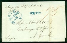 """ALABAMA, Mobile, 1836, scarcer Express Mail SFL to NY, in blue w/red ms """"75"""""""