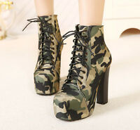 2017 Womens Camouflage High Chunky Heel army Ankle Boots Lace Up Platform Shoes