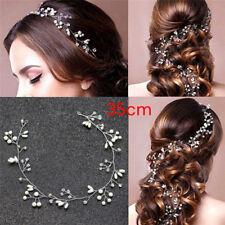 Luxury Wedding Bridal Rhinestone Faux Pearl Headband Tiara Hair Headpiece.ar