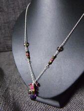 925 STERLING SILVER CLUSTER NECKLACE TOURMALINE SMOKY QUARTZ gemstone briolette