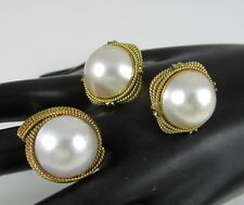 Large Pearl Chunky Set Ring&Clip Earrings Vintage 14K Yellow Gold Twisted Rope &