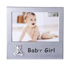 BABY GIRL FRAME 6X4 - SILVER ALUMINIUM & CHROME PLATED