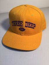 Vintage Three Deep Gold & Purple Embroidered Snapback Cap- New Era brand