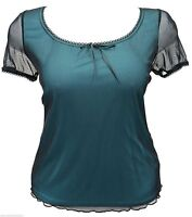 New womens Black mesh Turquoise lined cap sleeve gypsy top plus size 18 To 28