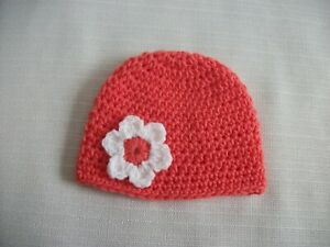 Crochet Baby Hat With Flower Newborn Infant Girl Hand-Crocheted *Choose Color*