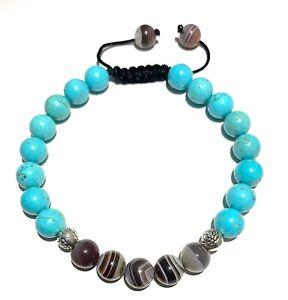 Botswana Agate and Natural Turquoise Beaded Bracelet,Crown Chakra Bracelet