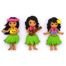 Jesse James Buttons  - Dress It Up - ALOHA - Hula Girls - Sew Craft Scrap