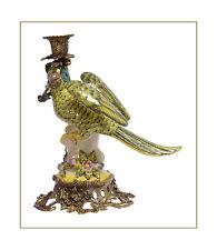 Messing Keramik figürlicher Kerzenleuchter Papagei links neu 99937886-dss