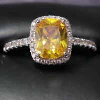 Sparkling Cushion Citrine Halo Ring Women Wedding Jewelry 14K White Gold Plated
