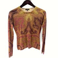 ETRO Milano Women's 42 M Brown Paisley Thin Knit Sweater Made in Italy