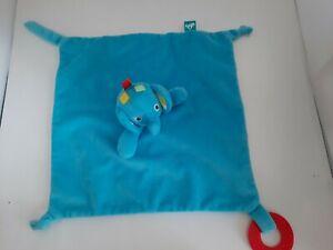Carousel Blue Elephant Plush Comforter Baby Teething Ring Crinkly Ears  Birth