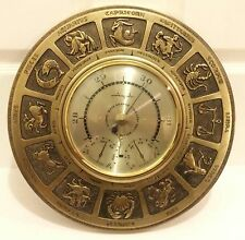 RARE VINTAGE.- AIRGUIDE BAROMETER THERMOMETER HUMIDITY HOROSCOPE ZODIAC FACE 14""