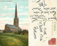s10685 Parish Church, Warrington, Lancashire, England postcard posted 1906 stamp