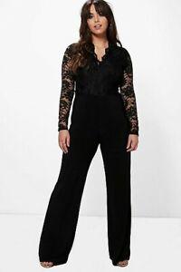"""Boohoo Plus"" Black Iris Long Sleeve Lace Top Slinky Jumpsuit, Size 18, BNWT"