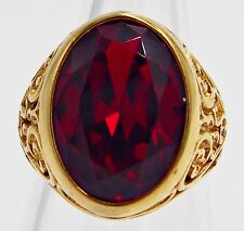 MEN RING RUBY STAINLESS STEEL YELLOW GOLD CARVE HEART ANTIQUES VTG LOK SIZE 8.75