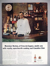 Canadian Club Whiskey PRINT AD - 1964 ~Le Vieux Moulin de Cros Restaurant Nestou