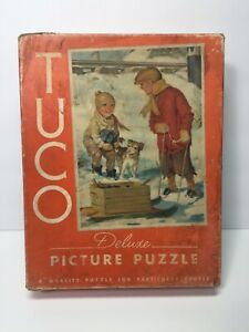 TUCO Vintage Puzzle A HAPPY FIND Missing 3 BEAUTIFUL! Kids dogs Nostalgic winter