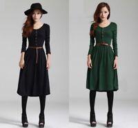 Women Spring Long Sleeve Knit Sweater Dress Belt Work Casual Fitted Slim Dresses