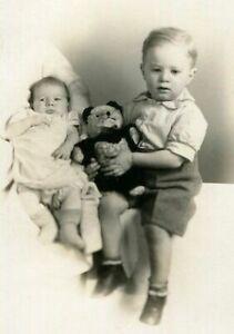 RPPC ADORABLE BOY & BABY CHILDREN ID'd REED w TEDDY BEAR REAL PHOTO POSTCARD
