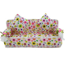 Barbie Doll Sofa Mini Floral Toy Plush Stuffed Furniture Chair with 2 Pillows