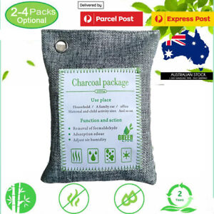 200g 2/3/4 Pack Air Purifying Bags Activated Bamboo Charcoal Freshener Car Home