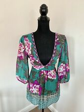 MONSOON 100% Silky Terquoise & Purple Tie Back Tunic Top Blouse Size 12 Beading