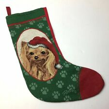 "Picken Yorkie with Pawprints Needlepoint Christmas Stocking 11""x18"""