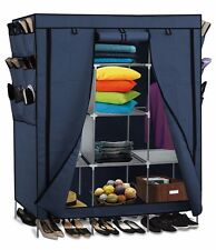 "71"" Portable Closet Storage Organizer Clothes Wardrobe Shoe Rack Shelves Navy"