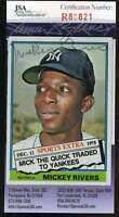 Mickey Rivers Jsa Coa Autographed 1976 Topps Authentic Hand Signed