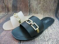 "Jelly Sandal ""BUFORD"" Women's Slide Flat Flip Flop Rhinestone Chain - Ann More"