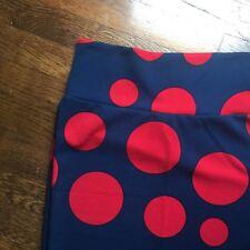 LULAROE XS Navy Red Big Polka Dot CASSIE Pencil Textured Skirt NWT LL8