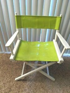Cool Retro Folding Directors Chair Wood with Lime Green Vinyl/Canvas Seat/Back
