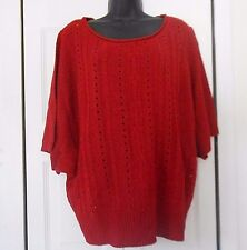 Womens New Directions Red sweater size 1X, short batwing sleeves,  *731
