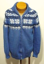 men's vintage shawl collar curling UGLY CHRISTMAS CARDIGAN SWEATER cowichan M/L
