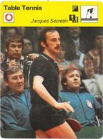 1977 Sportscaster Card Table Tennis Jacques Secretin #02-05 NRMINT.