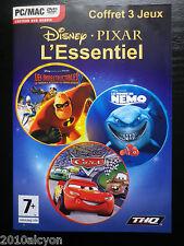 PACK 3 JEUX PC CD-ROM : Disney Pixar L'ESSENTIEL (INDESTRUCTIBLES + NEMO + CARS)