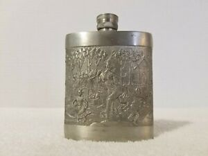 """THAILAND Bangkok Kajit Pewter 97% Tin Ornate 4"""" Flask Canteen"""