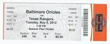 Josh Hamilton 4 Home run Game Full Unused Ticket Rangers @ Orioles May 8th 2012