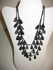 Joan Rivers Necklace Multi Strand 17 Inches Grey Beaded Signed String Black