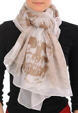 White With Mocha Skull and Raven Wings Unisex Scarf and Beach Sarong (SF000710)