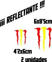 (1051) 2 x Vinilo pegatina bandera España Monster REFLECTANTE coches motos casco