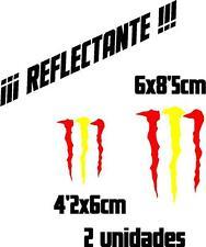 (1051) 2 x Vinilo pegatina bandera España Monster REFLECTANTE coches motos casco
