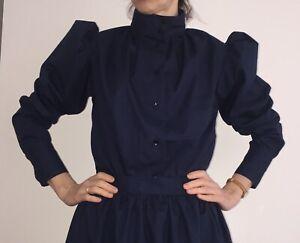 Handmade Victorian style Women blouse shirt puffy sleeve high collar, sizes 4-30
