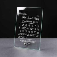 Personalised Engagement Gift Glass Plaque He Asked She Said Yes GP38