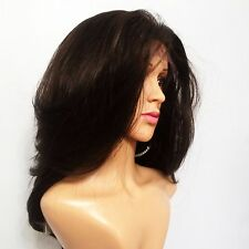 """Synthetic Layered Hand Tied Lace Front Dark Brown Wig 16"""""""