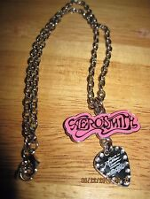 Vintage Silver Chain & Pink/Black Guitar Pick Aerosmith Necklace.#7873