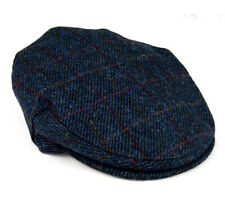 Men's Harris Tweed Flat Cap Made In Scotland Navy Herringbone
