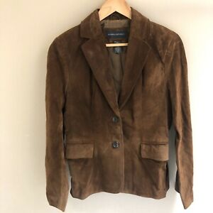Banana Republic Women's Sz 6 Suede Blazer Jacket Brown Leather Two Button Lined