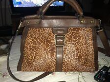 Fossil Women's Calf Hair Giraffe Brown Leather Handbag Satchel Bag Purse Preow