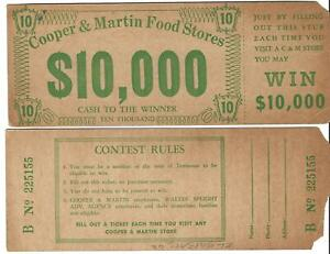 TWO CONTEST TICKETS - COOPER & MARTIN FOOD STORES IN TENNESSEE